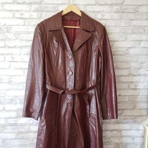 Vintage burgundy leather trench coat  Medium